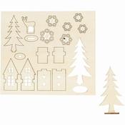 DIY Houten figuren, huis, bomen, hert, 3mm dik Per zakje