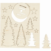 DIY Houten figuren, kerstbomen, l: 20 cm, b: 17,5 cm, Per zakje