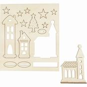 DIY Houten figuren, kerstdorp, l: 20 cm, b: 17,5 cm, Per zakje